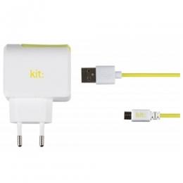 Фото Сетевое зарядное устройство Kit EU USB Mains Charger 2.4 A White-green (8600PMCEU2A)