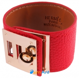 Фото Браслет кожаный Hermes красный