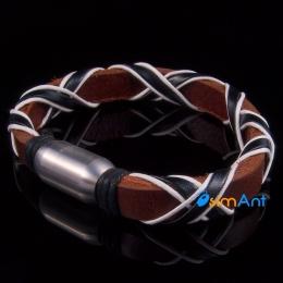 Фото Браслет кожаный коричневый Олимпик