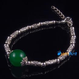 Фото Браслет Зеленый агат в серебре