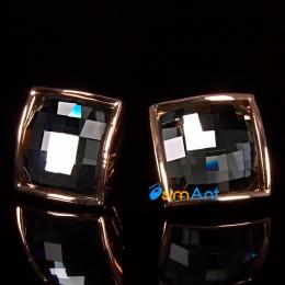Фото Серьги-клипсы Квадрат черный кристалл