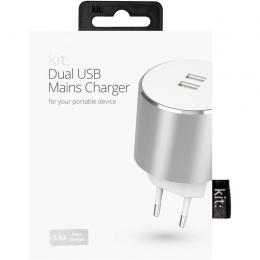 Фото Сетевое зарядное устройство Kit Platinum Dual USB Charger (USB 3.4 A) Silver (USBMCALUEU3SI)