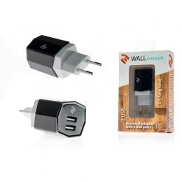 Фото Сетевое ЗУ 2E Dual USB Wall Charger 3.4A, Black (2E-WCRT58-B)
