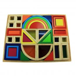 Фото Деревянный конструктор Радужные строительные блоки с окнами Goki (58620)
