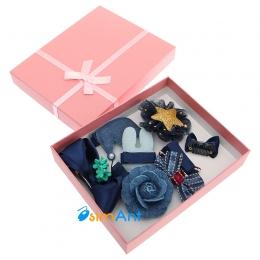 Фото Детский подарочный набор заколок синий
