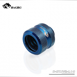 Фото Штуцер для жестких трубок внешним диаметром 14мм с гайкой BykSki (B-HTJV2-L14), синий