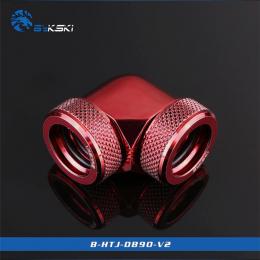 Фото Угловой адаптер Bykski B-HTJ-DB90-V2, 90 градусов с фитингами под жесткие трубки 14мм (красный)