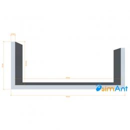 Фото Алюминиевый П-образный профиль анодированный 55х23х2.5мм