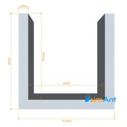 Фото Алюминиевый П-образный профиль анодированный 19.6х20х1.8мм