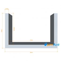 Фото Алюминиевый П-образный профиль анодированный 30х20х1.5мм