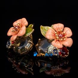 Фото Серьги-клипсы Розовый цветок Les Nereides