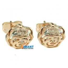 Фото Серьги Цветочный алмаз в позолоте