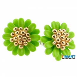 Фото Серьги Цветочный микс зеленые