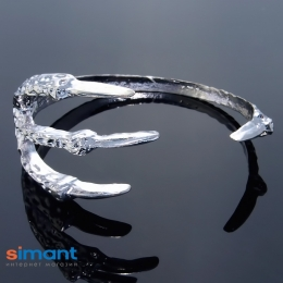 Фото Браслет металлический Лапка серебро
