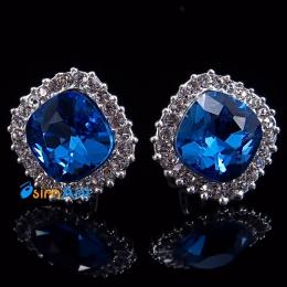 Фото Серьги-клипсы Шахматная королева синий кристалл