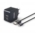 Фото Сетевое универсальное зарядное устройство Philips 2xUSB 3.1 А Black (DLP2307U/12)