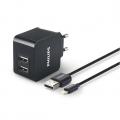 Фото Сетевое универсальное зарядное устройство Philips 2xUSB 3.1А Black+Кабель Apple Lightning DLP2307V
