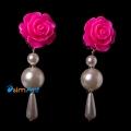 Фото Детские клипсы Розы ярко розовые