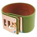 Фото Браслет кожаный Hermes зеленый
