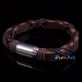 Фото Браслет из кожи коричневый с плетением