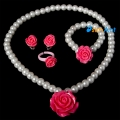 Фото Детский набор бижутерии Розы ярко розовые