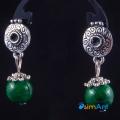 Фото Серьги Зеленый агат в серебре