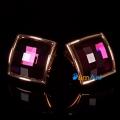 Фото Серьги-клипсы Квадрат фиолетовый кристалл