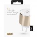 Фото Сетевое зарядное устройство Kit Platinum Dual USB Charger (USB 3.4 A) Gold (USBMCALUEU3GD)