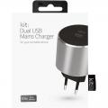 Фото Сетевое зарядное устройство Kit Platinum Dual USB Charger (USB 3.4 A) Space Grey (USBMCALUEU3SG)