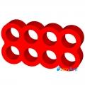 Фото Cable combs 8-pin красный закрытый для кабелей питания видеокарты