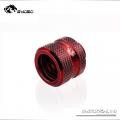 Фото Штуцер для жестких трубок внешним диаметром 14мм с гайкой BykSki (B-HTJV2-L14), красный