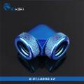 Фото Угловой адаптер Bykski B-HTJ-DB90-V2, 90 градусов с фитингами под жесткие трубки 14мм (синий)