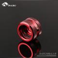Фото Штуцер для жестких трубок внешним диаметром 16мм с гайкой BykSki (B-HTJV2-L16), красный