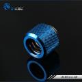 Фото Штуцер для жестких трубок внешним диаметром 12мм с гайкой BykSki (B-HTJ-L12), синий