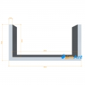 Фото Алюминиевый П-образный профиль анодированный 40х20х2мм